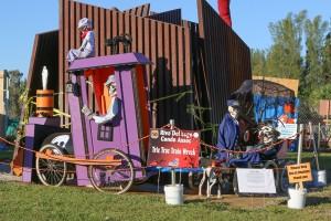 """Riva del Lago Condo Association, """"Tric Trac Train Wreck"""" scarecrows"""