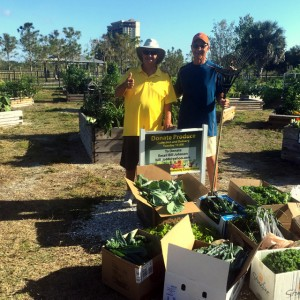 Lakes Park Community Garden volunteers are the best! Posing here with the April 3rd harvest, which was donated to the Community Cooperative.