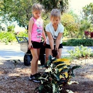 True gardeners in the making - Rylin and Sophia don't mind getting their hands dirty!
