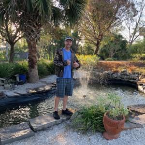A proud moment: our Fragrance Garden fountain lives! | Photo: Kathy Busick
