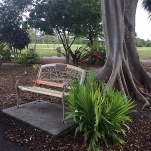 Ornate bench at Lakes Regional Park, Fort Myers FL