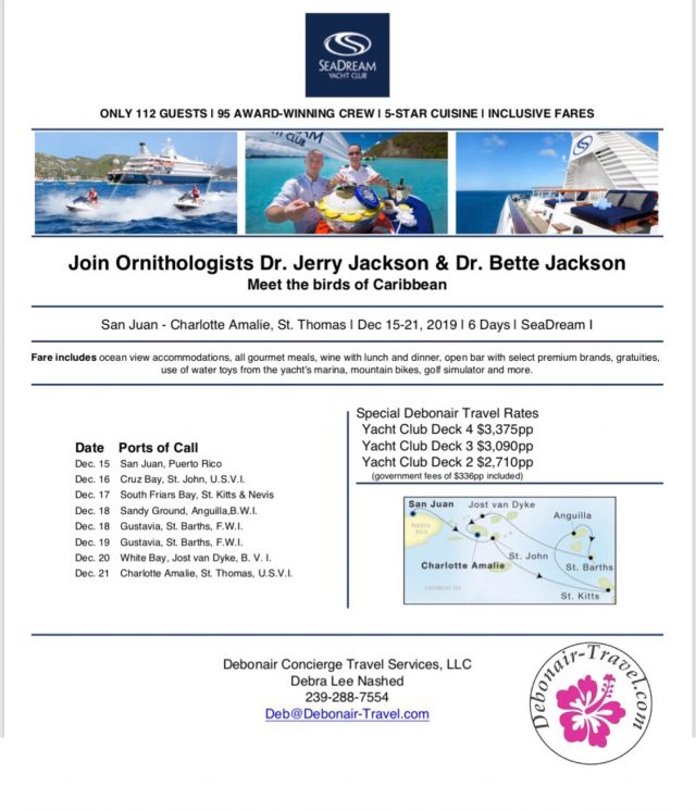 SeaDream itinerary for Caribbean birding cruise with Dr. Jerry Jackson - December 2019
