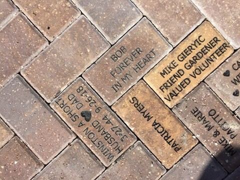 BRICKS donated to the Lakes Park Childrens Garden by Patricia Gonzalez Short, Angie Ebbler, Patricia Myers, LPEF, Mike and Marie Pacito