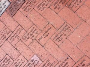 Bricks installed in the ROSE GARDEN: Our thanks to Elvy Goldstein, David Owen