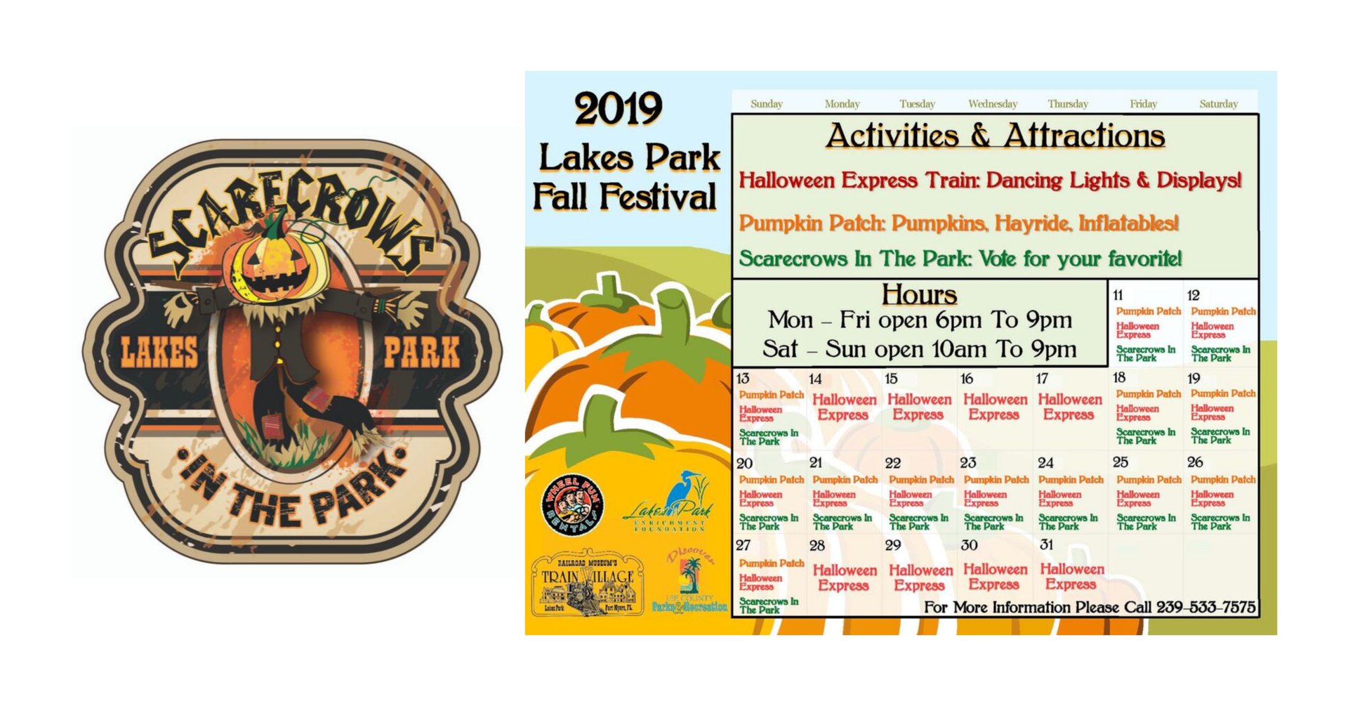 Schedule for the 10th annual Scarecrows in the Park competition