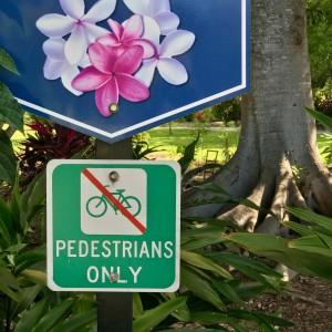 Pedestrians only in the gardens