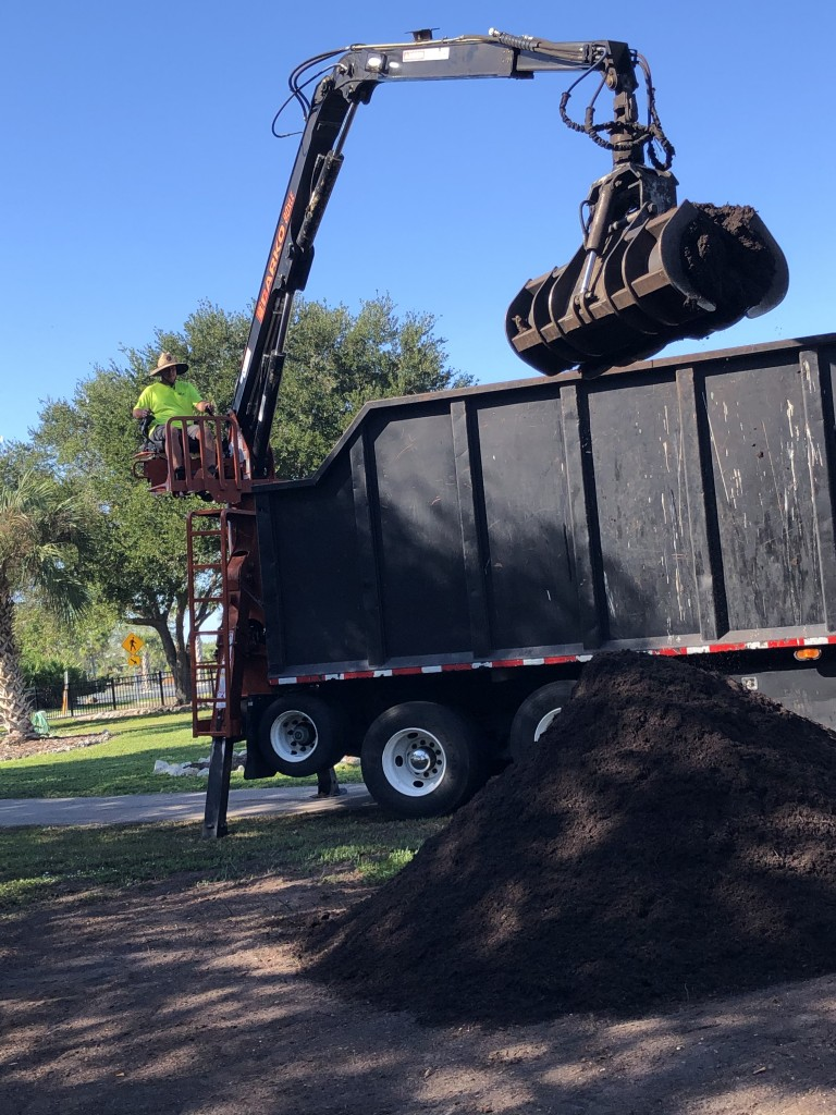 Green Care Recycling delivers soil to the Children's Garden at Lakes Park