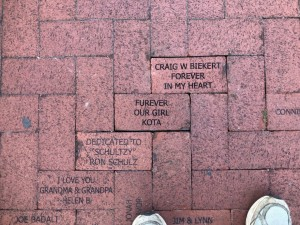 Bricks donated to the Train Museum walkway at Lakes Park Fort Myers FL