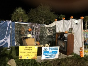 """Scarecrows in the Park - Best Youth Group Created Display: Cub Scout Pack 119, """"Ultimate Couch Potato,"""" sponsored by Morgan & Morgan"""