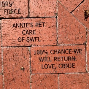 Bricks dedicated in the Rose Garden by Anne Hosford, Cory Bethany Nordman - thank you!