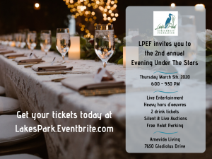 Sponsorships are available Graphic for 2nd annual Evening Under the Stars - gala fundraiser table set with twinkly lights on a tree