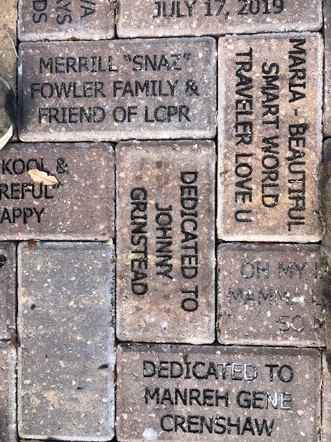 Bricks donated and installed at the Children's Garden in Lakes Park, April 2020. DONATE a brick or bench