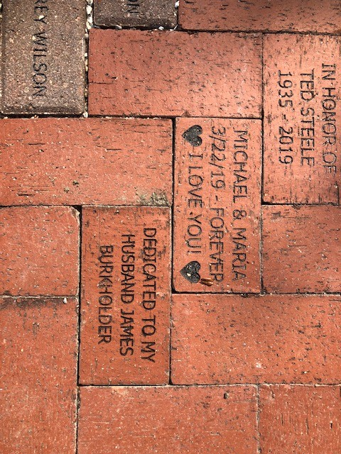 Bricks donated and installed at the Rose Garden in Lakes Park, April 2020. DONATE a brick or bench