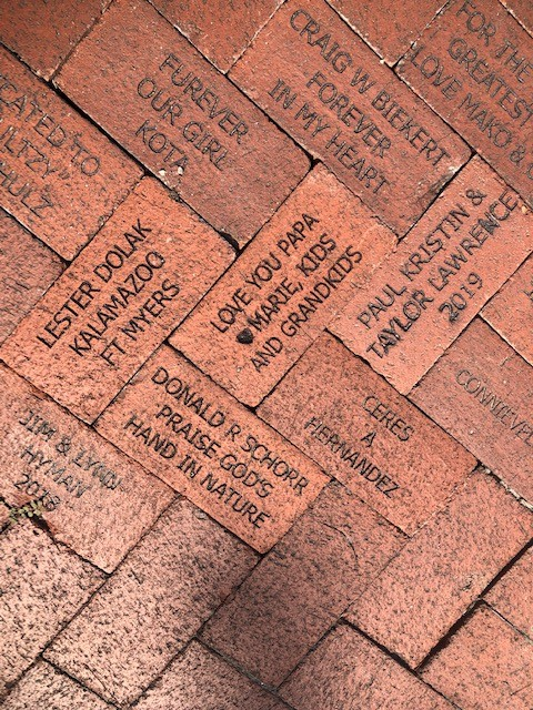 Bricks donated and installed at the Train Museum in Lakes Park, April 2020. DONATE a brick or bench
