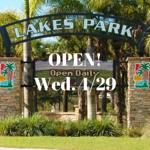 After a brief period of closure to facilitate social distancing, Lee County re-opened Lakes Park on April 29th.