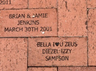 Brick donated by Ryan Finkelberg placed in the Rose Garden at Lakes Park