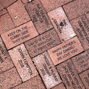 bricks donated to the train museum walkway at Lakes Park in July 2020