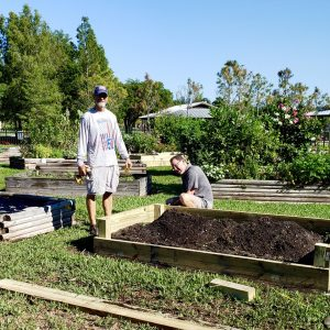Rebuilding the beds in the Lakes Park Community Garden