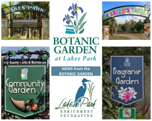 Collage of signage from all over the Botanic Garden at Lakes Park