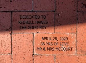 Brick dedications in the Rose Garden at Lakes Park July 2020